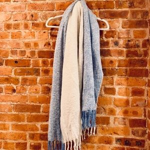 Cozy blue and white blanket scarf